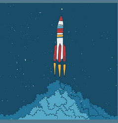 rocket sketched with clouds vector image vector image