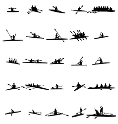 Rowing silhouette set vector image