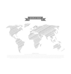 scribble world map vector image vector image