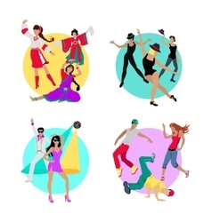 Set Folk Jazz Disco or Electric and Street Dance vector image vector image