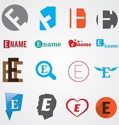 Set of alphabet symbols of letter E vector image vector image