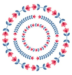Set of design elements - round floral frames vector image