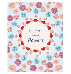 Summer colorful multiple flowers pattern vector