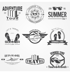Summer time set tourist agency travel around the vector