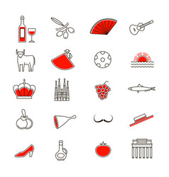 symbol of spain thin line icon set vector image vector image