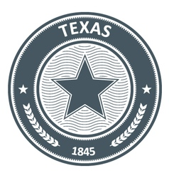 Texas emblem - round stamp with star vector