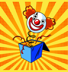 toy clown head on spring comic book style vector image vector image