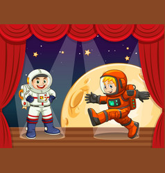 Two astronauts walking on stage vector