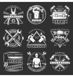 White repair workshop logo set vector