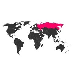 World map with highlighted russia vector