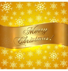 Yellow Background with Snowflakes and Greeting vector image