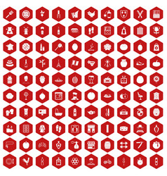 100 beauty product icons hexagon red vector