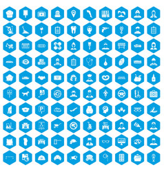100 favorite work icons set blue vector image vector image