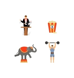 Circus flat colored icons set vector image