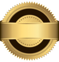 Golden blank label with golden ribbon vector image
