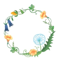 Postcard with a round frame of flowers vector image