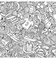 Cartoon cute doodles hand drawn sport seamless vector