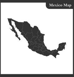 The detailed map of the mexico with regions vector