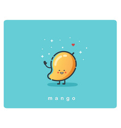 Icon of mango fruit funny cartoon character vector