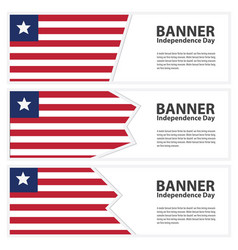 Liberia flag banners collection independence day vector