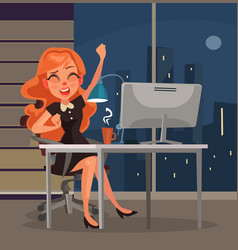office worker woman character yawns workplace vector image