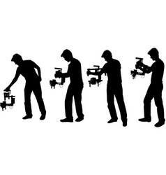 videographer with handheld steadycam silhouettes vector image
