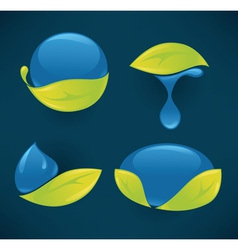 water and leaves vector image