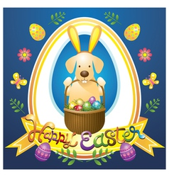 Easter heading label with labrador dog as bunny vector