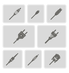 Monochrome icons with different power cord plug vector