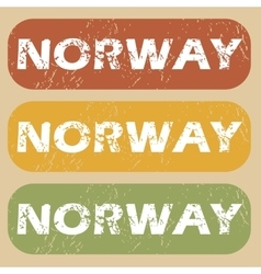 Vintage norway stamp set vector