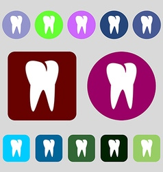 Tooth icon 12 colored buttons flat design vector