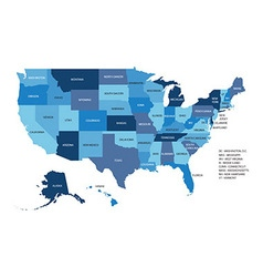 Blue map of united states of america isolated on vector