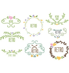 Swirly frame decoration set vector