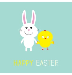 Cute bunny rabbit and chicken Happy Easter Round vector image