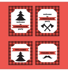 Printable set of vintage lumberjack invitation and vector