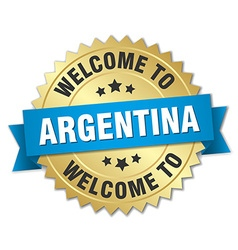 Argentina 3d gold badge with blue ribbon vector