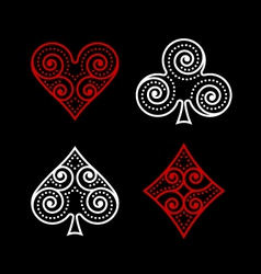 Ornamental poker symbols vector