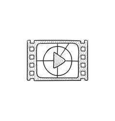 Film strip with play button sketch icon vector