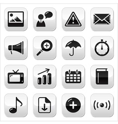 Website internet glossy sqaure buttons set vector image