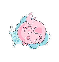 Adorable pink dragon sleeping with pillow on blue vector