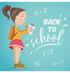 back to school schoolgirl with notebook vector image