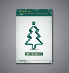 Brochures book or flyer with folded christmas tree vector