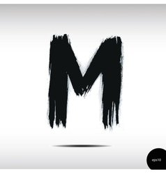 Calligraphic watercolor letter m vector