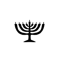 Chanukah candle black silhouette jewish religious vector