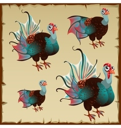 Cute brown turkey with big blue tail vector image vector image