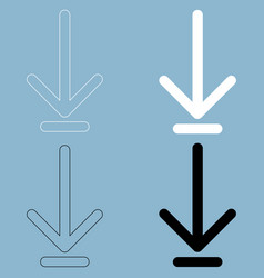 Down arrow or load symbol the black and white vector