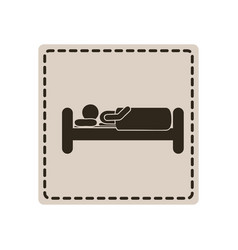 Emblem sticker bed and person sleeping vector