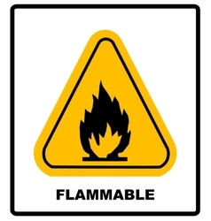 Fire warning sign in yellow triangle High vector image