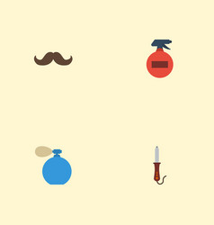 Flat icons whiskers spray hairstylist and other vector