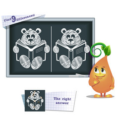 Game find 9 differences teddy bear vector